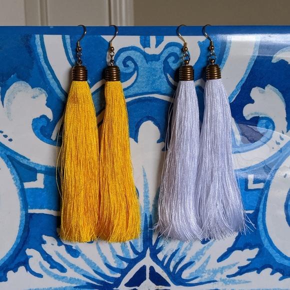 Jewelry - NEW SET of 2 Tassel Earrings White/Yellow!